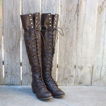 DCCKLM3 over the knee laced up boots - dark brown