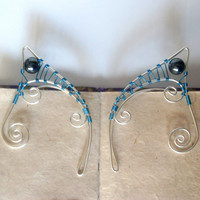Teal & Silver Plated Handmade Wire Wrapped Hematite Elf Ear Cuffs. Wire Weave, Elven Ears, LARP, Fantasy Wedding