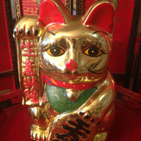 Vintage Ceramic Asian Maneki Neko ,Lucky Cat 11""