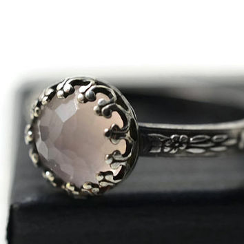 Rose Quartz Engagement Ring, Honeycomb Gemstone Ring, Oxidized Silver Ring, Victorian Style Black Floral Band, Rose Quartz Jewelry