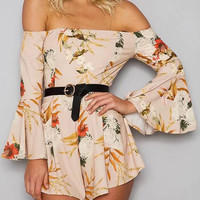Polychrome Choker Neck Off Shoulder Flared Sleeve Romper Playsuit