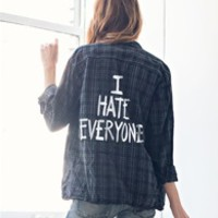 I HATE EVERYONE Custom Flannel- BLACK PLAID