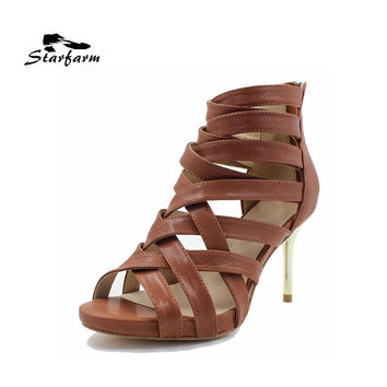 STARFARM 2017 shoes women genuine cow leather gladiator heel sandals with leather outsole coffee brown or custom made