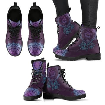 Purple Sun and Moon Dream Catcher Handcrafted Boots