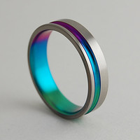 Titanium Ring The Cosmos in Sunset PurpleNew by RomasBanaitis