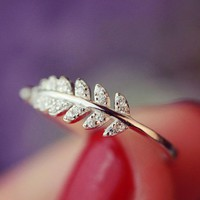 Fashion Promise Olive Leaf Band Adjustable Open Index Finger Ring Jewelry