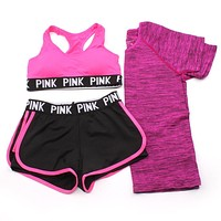 PINK Victoria's Secret Women Fashion Sport Yoga Bra Shirt Top Shorts Set Three Piece