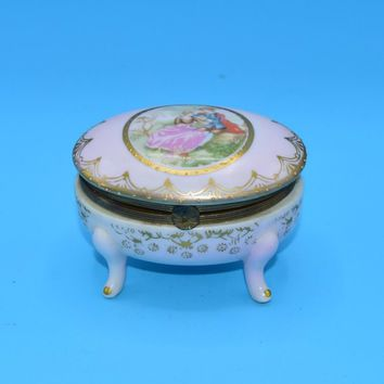 Arnart Ceramic Victorian Trinket Box FREE SHIPPING Vintage Japan Hinged Porcelain Jewelry Holder Gold Trim Shabby Chic Decor Vanity Dresser