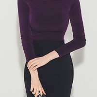 Purple Off Shoulder Long Sleeve Tight T-shirt