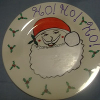 Ho Ho Ho Santa Claus Christmas Painted Giving Plate with Holly Berries Holiday Hostess Friend Party Decor Fun Gift Idea