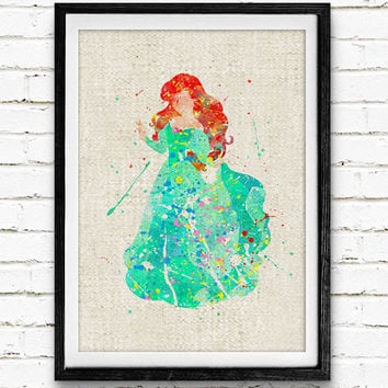 Disney Little Mermaid Watercolor Art Print, Princess Ariel Wall Poster, Gift, Nursery Decor, Home Wall Art, Not Framed, Buy 2 Get 1 Free!