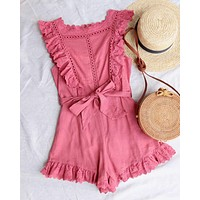 just the cutest ruffled eyelet romper - rose