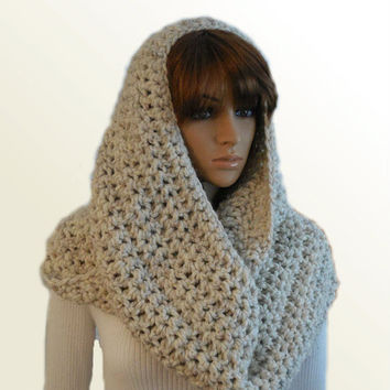 OVERSIZED INFINITY Scarf Hooded Cowl Knit Crochet Scarf Huge Hooded Snood Scarf Cowl Chunky Loop UniSex Infiniti Scarf Women Men Wheat Wool