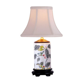Floral Bird Motif Cylindrical Porcelain Vase Table Lamp 15""