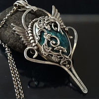 Chrysocolla Pendant,Winged Pendant,Artisan Jewelry,Metalsmith Jewelry,Sterling Silver Jewelry