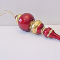 Vintage Icicle Christmas Ornament Burgundy Gold Retro Holiday Home Decor Decorating Accents
