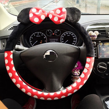 Car Styling Bow Steering Wheel Cover Cute Cartoon Universal Interior Accessories Set Women 16 Designs Case On The Steering Wheel