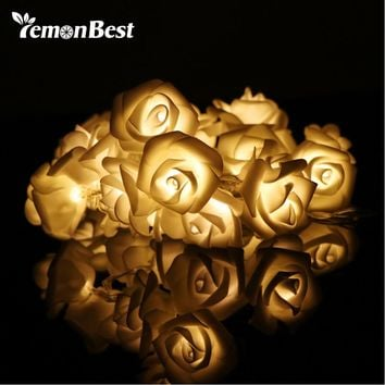 20-LED Rose Flower String Lights Rose Blossom Lamps Decoration Battery Operated Warm White