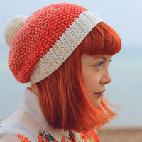 Hand Knitted - Bamboo & Wool Mix - ombré - Coral Hat