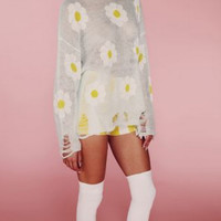 Daisy Ripped See Through Sweater- Found on Bib + Tuck