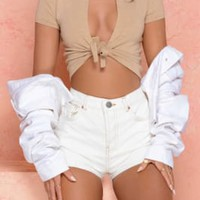 Knot My Intention Plunge Tie Front Crop Top