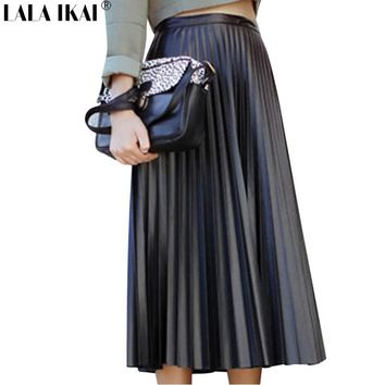 Women Long Pleated Leather Skirt Solid Retro Maxi Skirts Female Artificial Leather Piano Pleated Skirt Woman Jupe Femme QWH00244