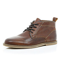 River Island MensBrown leather lace up desert boots