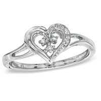 Diamond Accent Heart-Shaped Promise Ring in Sterling Silver - View All Rings - Zales
