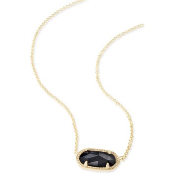 Kendra Scott: Elisa Gold Pendant Necklace In Black