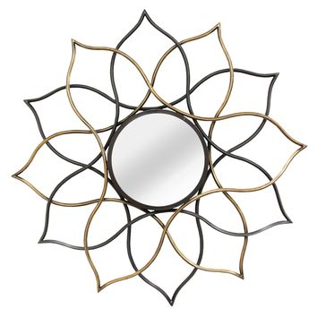 Hidalgo Gold and Black Floral Metal Wall Mirror