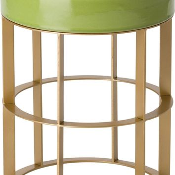 Milo Metal Stool/Table Powdercoated Gold With A Apple Green Ceramic Top