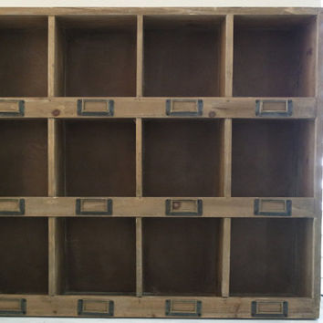 Rustic Cabinet Large Wood Mail Box Wall Mount Office Shabby C