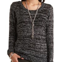 Marled Slub Knit Tunic Sweater by Charlotte Russe - Black Combo