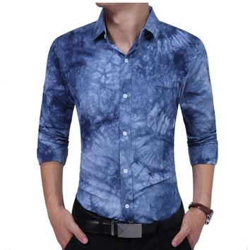 Men Shirt Male Long Sleeve Shirts Casual Tie Dye Printing Slim Fit Dress Shirts Mens Camisa Masculina