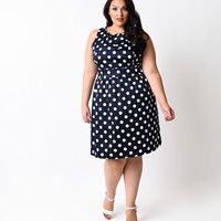 Plus Size Navy & White Dotted Bow Fit N Flare Dress
