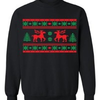 Festive Threads Ugly Christmas Sweater Design (Moose Design) Adult Sweatshirt (Black, 4X-Large)