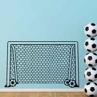 Soccer Goal Wall Decal- Football Goal Net Decals Stickers- Soccer Wall Decal Boy Decals Stickers Sports Kids Boys Room Wall Art Decor Q252