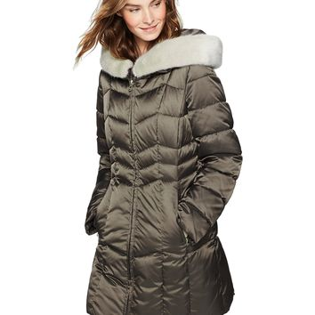 Haven Outerwear Women's Chevron Puffer Coat With Faux Fur Trim, Military Green, Extra Small