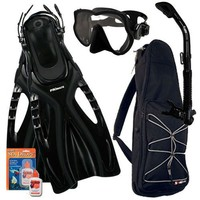 PROMATE Snorkeling Scuba Dive Frameless Mask Fins Dry Snorkel Gear bag Set, Bk/Bk, ML/XL(9-13)