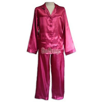 Ladies Plain Satin Pajamas (Maroon)