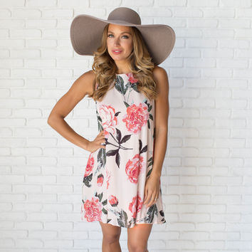 Rollin in Roses Shift Dress in Blush Pink