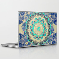 Midnight Bloom - detailed floral doodle in gold, navy blue & mint Laptop & iPad Skin by micklyn