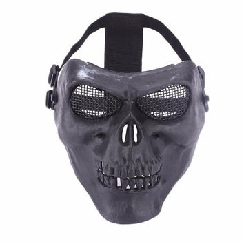 WoSporT Tactical paintball Full Face Skull Mask with Metal Mesh Eye Protection Cosplay Halloween Mask Outdoor Hunting Shooting