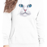white cat face blue eyes hoodie