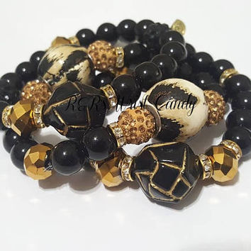 Black and Gold Beaded Bracelet Trio Set,Leopard, Animal Print, Stretchy, Boho, Fashion, Stack, Womens, Custom Handmade Beaded Jewelry