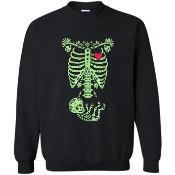 Pregnancy Halloween Costume Mexican Day Of The Dead  Printed Crewneck Pullover Sweatshirt
