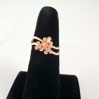 Gold double Band Flower and Diamond Ring Size 7 AVON