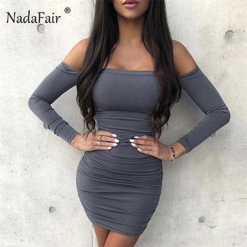 Nadafair long sleeve off shoulder bodycon autumn winter dress women backless ruched sexy mini dress female wrap club party dress