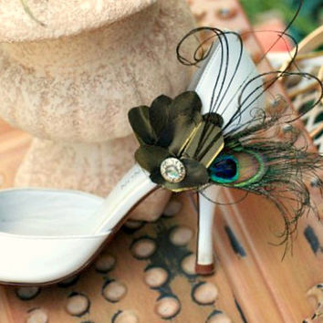 Wedding Shoe Clips Peacock & Olive Green Fan. Herl Feathers Teal Turquoise, Bridal Bride Bridesmaid Gift for Her, Statement Mom Mother Mum
