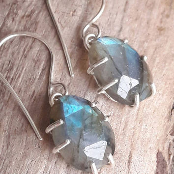Labradorite and Sterling Silver Earrings - Labradorite Earrings - Blue Labradorite - Dangle Earrings - Boho Earrings - Gift for Her